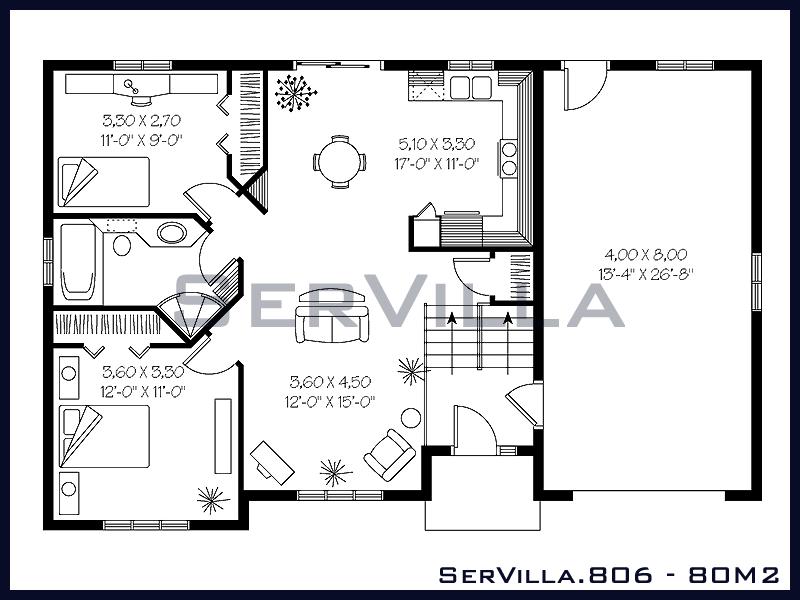 80 m2 Çelik Konstrüksiyon Villa Modeli 6